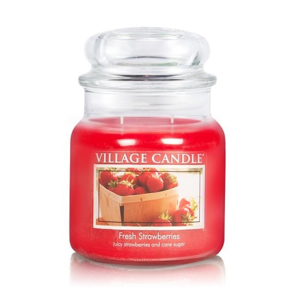 Fresh Strawberries 16 oz Glas (2-Docht) Village Ca