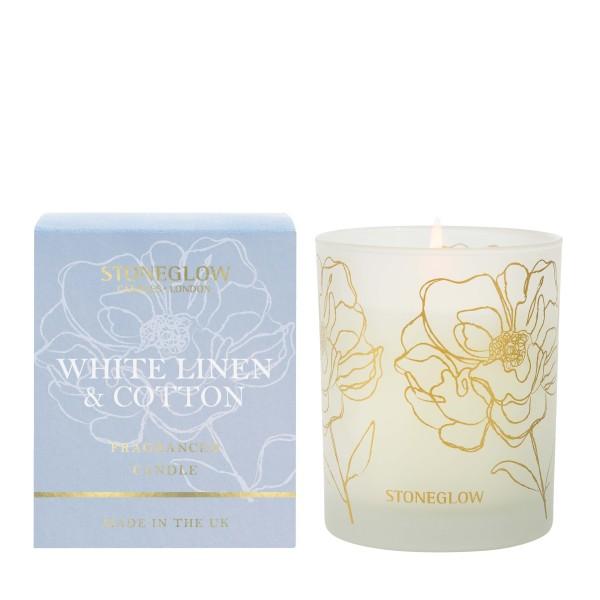 Day Flower White Linen & Cotton Dufkerze 180g Ston